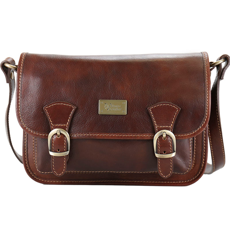 Fine Quality Messenger Brown Leather Bag Front Flap Magnet Closure High Quality