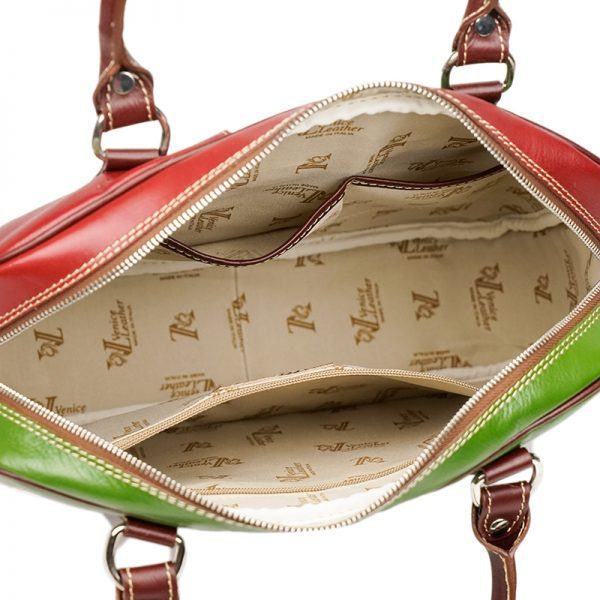 PADOVA Women's handmade leather handbag with italian flag handles and shoulder strap